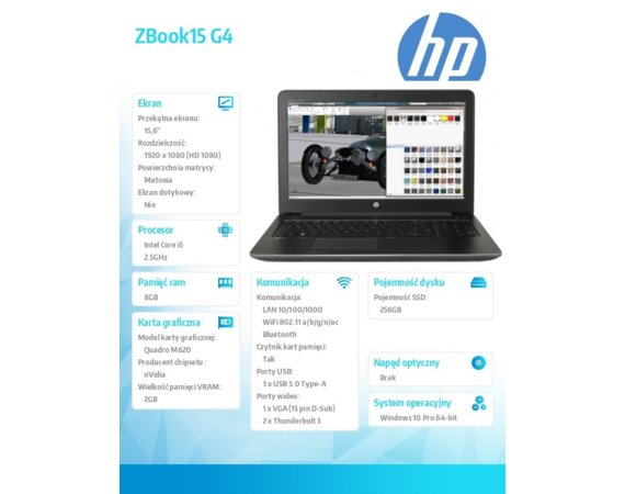 HP Inc. ZBook15 G4 i5-7300HQ 256/8G/W10P/15,6 1RQ94ES