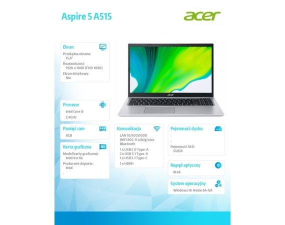 Acer Notebook Aspire 5 A515-56-5138 WIN10H i5-1135G7/8GB/512GB/15.6