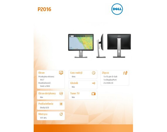 Dell 19,5'' P2016    LED 16:10/1440x900/VGA/DP/2xUSB 2.0/3YPPG