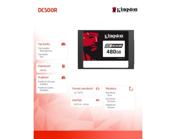 Kingston Dysk SSD DC500R 480GB