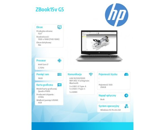HP Inc. Laptop ZBook15v G5 i7-8750H 256/16/W10P/15,6 2ZC56EA