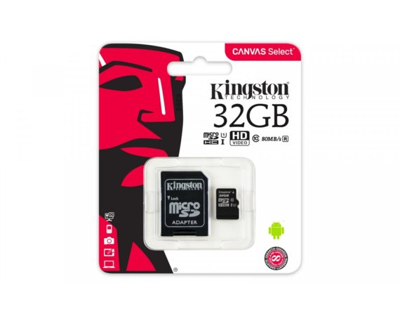 Kingston microSD  32GB Canvas Select 80/10MB/s adapter