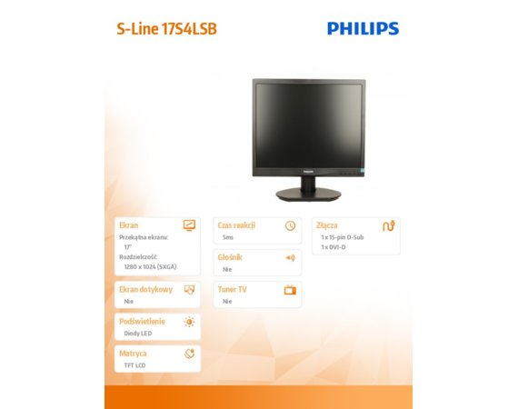 Philips Monitor 17 17S4LSB LED 5:4 DVI Czarny