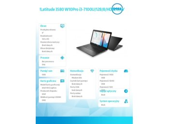 "Dell Latitude 3580 Win10Pro i3-7100U/128GB/8GB/HD620/15.6""FHD/KB-Backlit/56WHR/3Y NBD"