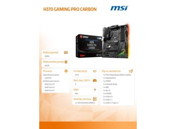 MSI H370 GAMING PRO CARBON s1151 H370 4DDR4 2M.2 ATX