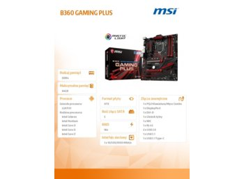 MSI B360 GAMING PLUS s1151 B360 4DDR4 M.2 USB3 ATX