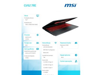 MSI GV62 7RE-2204PL W10/i5-7300/8/1T/GTX 1050Ti/15.6
