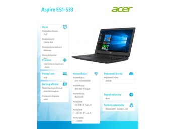 Acer Laptop ES1-533-C55P REPACK W10/N3350/4GB/500GB/BT/15.6 HD