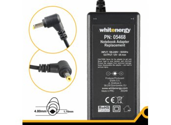 Whitenergy Zasilacz 12V | 3A 36W wtyk 4.8*1.7 mm Asus Eee PC 05468