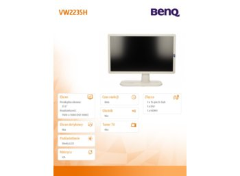 Benq 22''VW2235H LED 4ms/MVA/20mln/DVI/HDMI