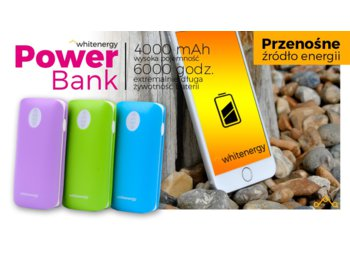 Whitenergy POWERBANK 4000mAh 2xUSB 2.1A 1A zielony, kabel