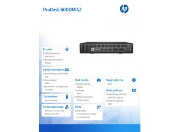 HP Inc. ProDesk 600DM G2 i5-6500T 500/4GB/W10/7    P1G77EA