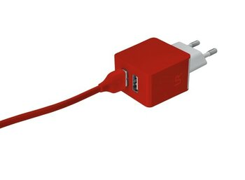 Trust UrbanRevolt 5W Wall Charger with 2 USB ports - red