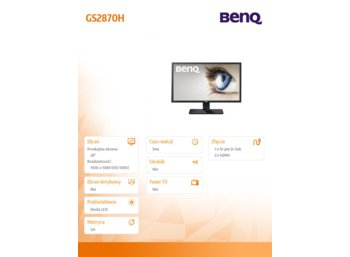 Benq 28''GS2870H LED 5ms/MVA/20mln:1/HDMI
