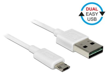 Delock Kabel Micro USB AM-BM DUAL EASY-USB 2m White