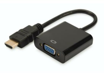 Digitus Adapter audio-video HDMI typ A do VGA, FHD, z audio 3.5mm        MiniJack