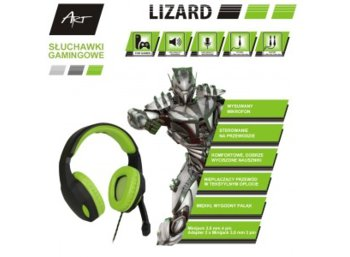 ART Słuchawki gamingowe z mikrofonem Lizard 1x mini Jack +       adapter 2x mini Jack