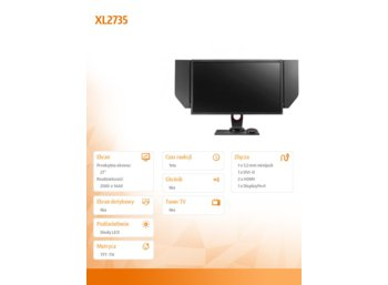 ZOWIE 27''XL2735  LED 4ms/MVA/20mln:1/HDMI/DVI