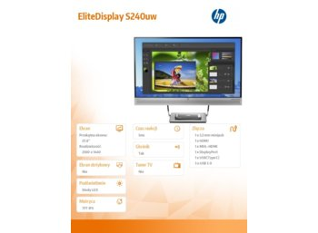 "HP Inc. 23.8"" EliteDisplay S240uw USB-C T7B66AA"