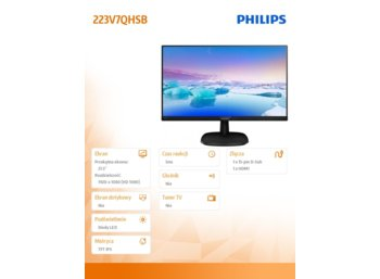 Philips 21.5' 223V7QHSB IPS HDMI Czarny
