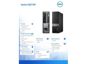Dell !Vostro 3267 Win 10 Pro i5-6400/256GB/8GB/DVDRW/Integrated/MS116/KB216/3Y NBD