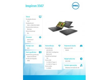"Dell Inspiron 3567 Win10Home i7-7500U/256GB/8GB/DVDRW/R5 M430/15.6""FHD/40WHR/1Y NBD+1Y CAR"
